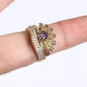 Vintage Jewelry - Sultan Ottoman Crown Amethyst Topaz Silver Ring